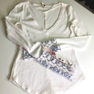 Free People Boho Thermal w/ Knit Sleeve Detail ✌🏼